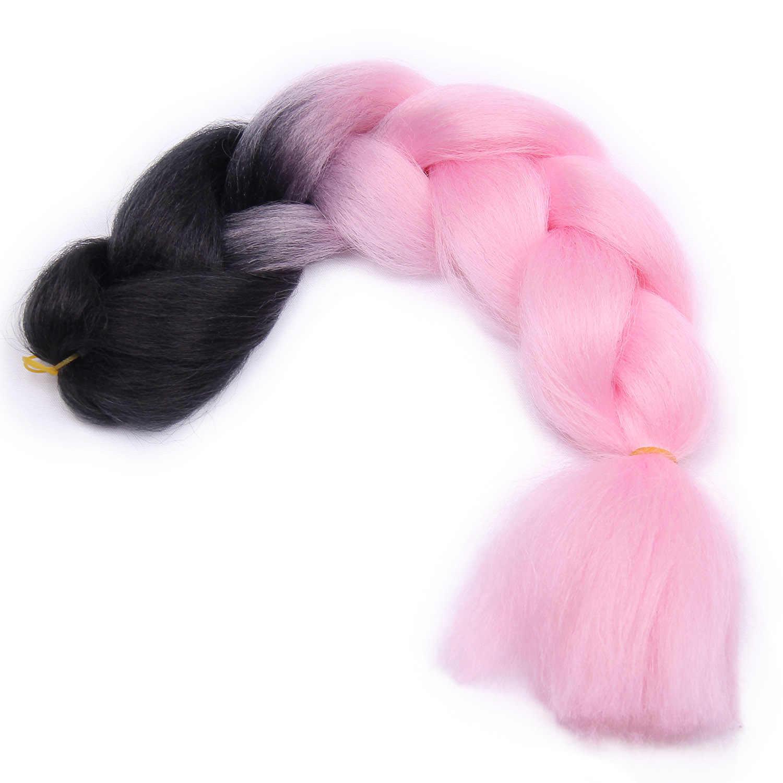Extensiones de cabello de trenzado sintético Jumbo Ombre para mujer para trenzas de Crochet Kanekalon múltiples tonos para afro-americano