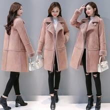 Пальто из овечьей шерсти, Женское зимнее, стиль, корейский стиль, свободный крой, мех, хлопок, стеганая куртка средней длины, оленья кожа, бархат, хлопок
