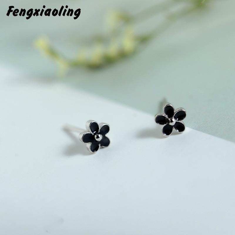 100% Real 925 Sterling Silver Cute Black Drop Glaze Stud Earrings For Women Simple Flower Party Elegant Earings Fashion Jewelry
