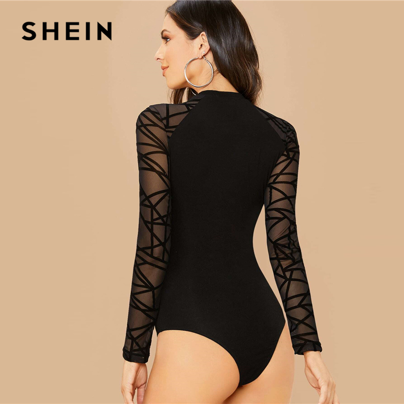 SHEIN Black Geometric Print Contrast Mesh Elegant Bodysuit Women Spring Long Sleeve Fitted Office Ladies Basic Skinny Bodysuits 2