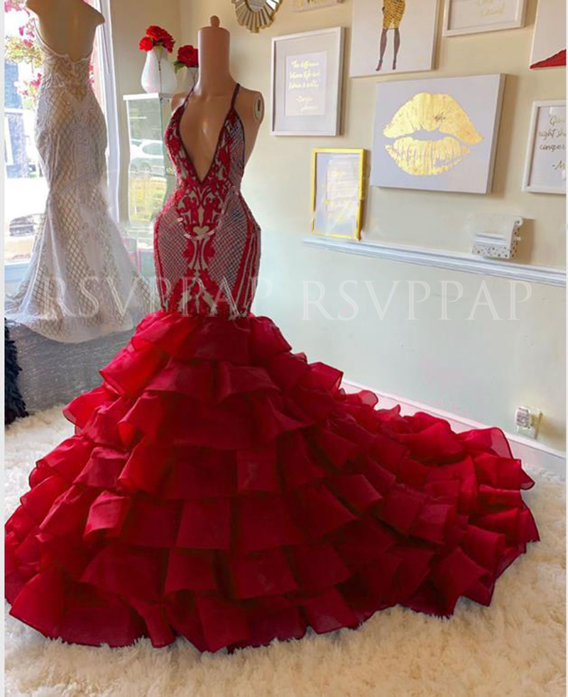 Red Mermaid Prom Dress 2020 African Black Girl New Arrival Real Picture Sexy Deep V-neck Sequin Top Tiered Long Prom Dresses