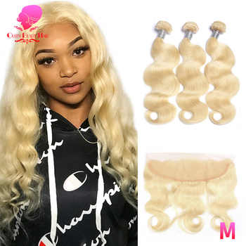QUEEN BEAUTY 613 Brazilian Body Wave Blonde Human Hair Lace Frontal Closure with Bundles Remy Human Hair 3 Bundles with Frontal - Category 🛒 Hair Extensions & Wigs
