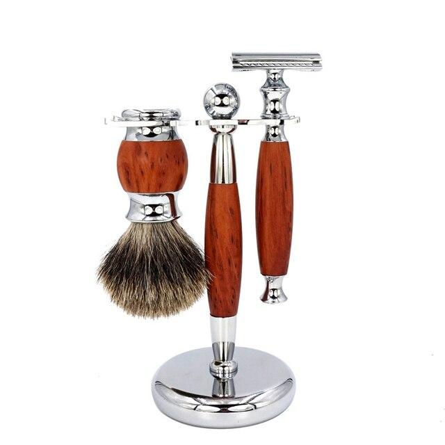 Men's Manual Shaver Set Retro Double-sided Old-fashioned Manual Woodgrain Long Shaver Holder 1