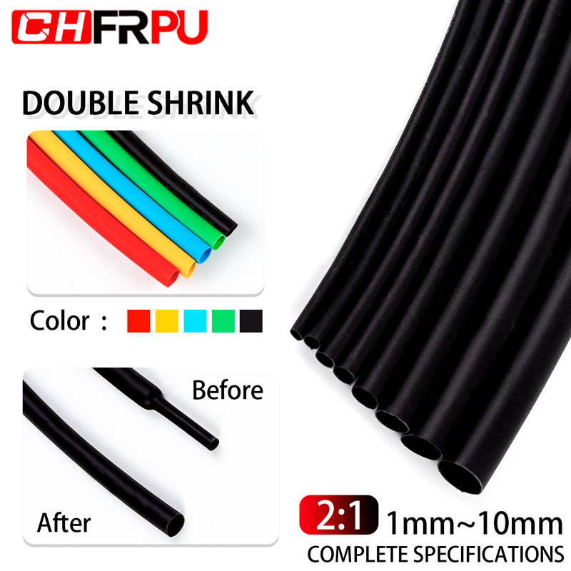 5 Meter 2:1 Black Red Green Blue Yellow 1 2 3 5 6 8 10mm Diameter Heatshrink Tubing Tube Sleeving Wrap Wire DIY Connector Repair