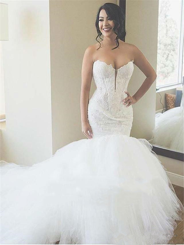 Sereia rendas fantasia tule vestidos de casamento sexy querida pescoço 2020 primavera varredura trem vestidos de noiva personalizar mais tamanho - 3