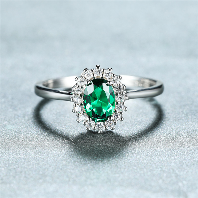 Green Oval Zircon Lab Emerald Rings For Women Engagement 100% Real 925 Sterling Silver Gemstone Ring Female Wedding Jewelry Gift