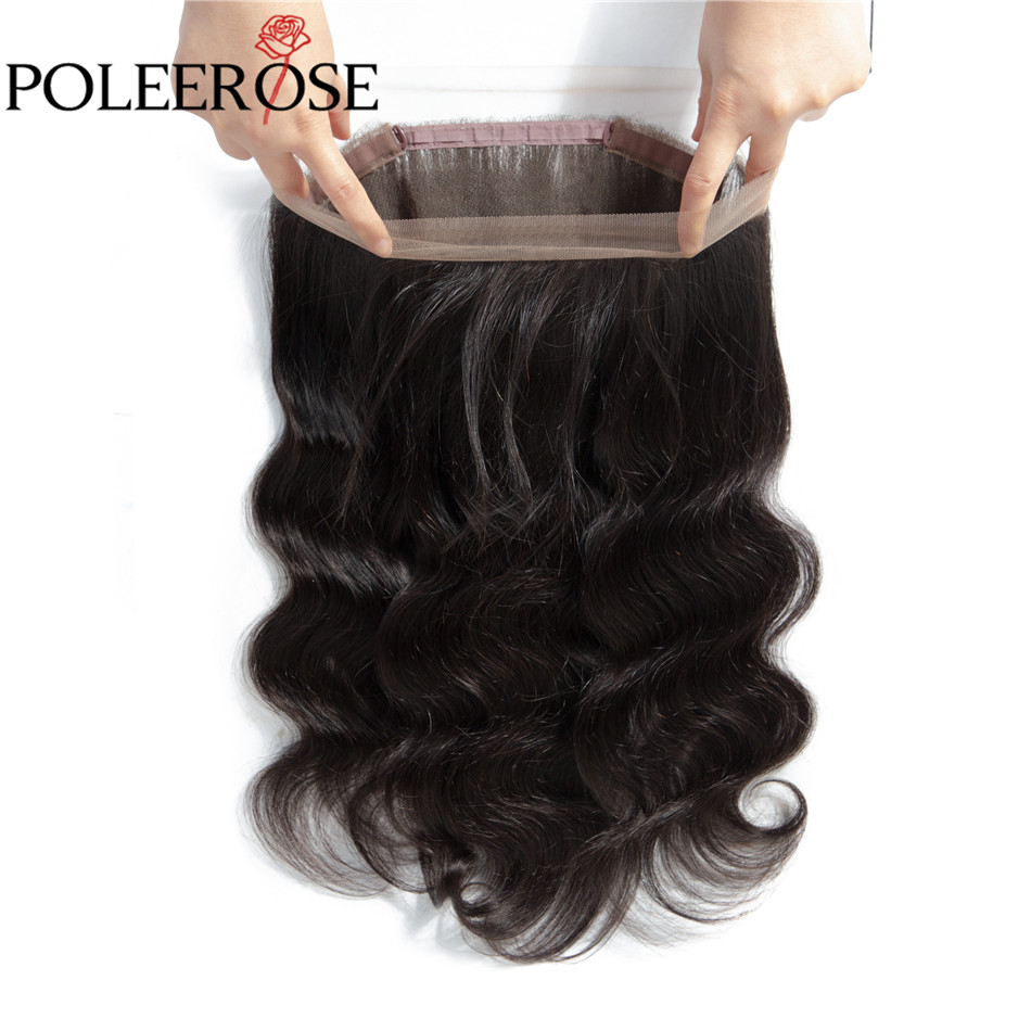 Closure Frontal Baby-Hair Body-Wave Brazilian with 360 Lace POLEEROSE Non-Remy 100%Human-Hair