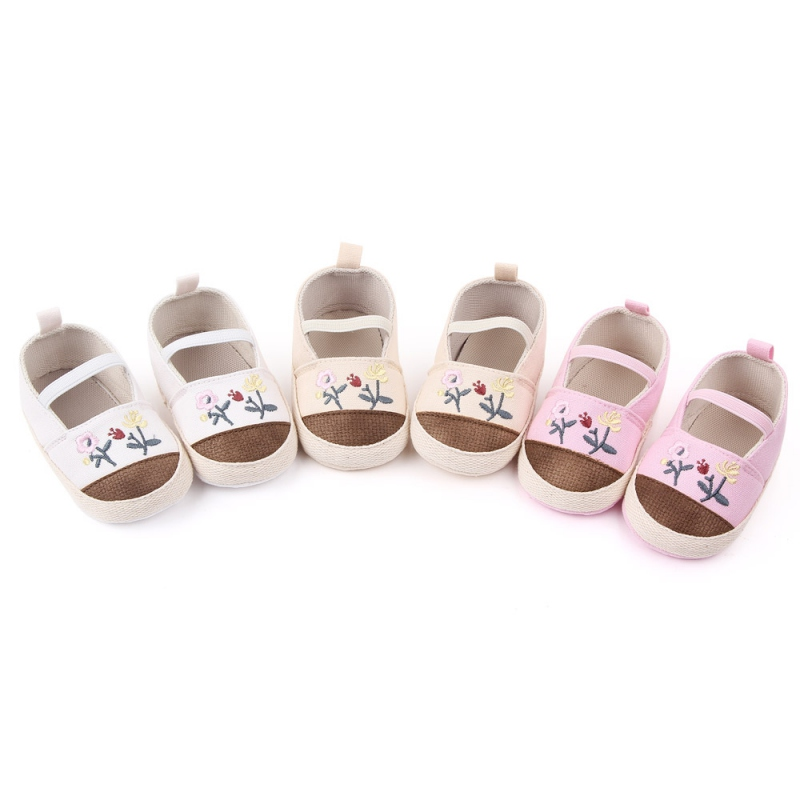 Toddler Soft Soled Walking Shoes Soft Sole Casual Baby Shoes Breathable Embroidery Flower Print Anti-Slip Casual Sneakers