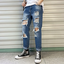 Mens Jeans Slim Fit Straight Ripped Skinny Distressed Full Length Pleated Knee Hole Denim Pants Stretch Pencil Spring