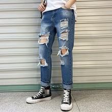 цена на Men's Jeans Slim Fit Straight Ripped Skinny Distressed Full Length Pleated Knee Hole Denim Pants Stretch Pencil Jeans Spring