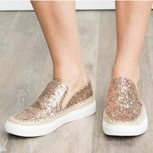 2019 new women flats shoes casual slip on lazy shoe woman round toe bling  loafers WXX050 цены онлайн