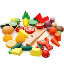 Children Kitchen Food Pretend Toys Fruit Fish Vegetable Blocks Children Lovely Wooden Toys Play House Toy Baby Gifts