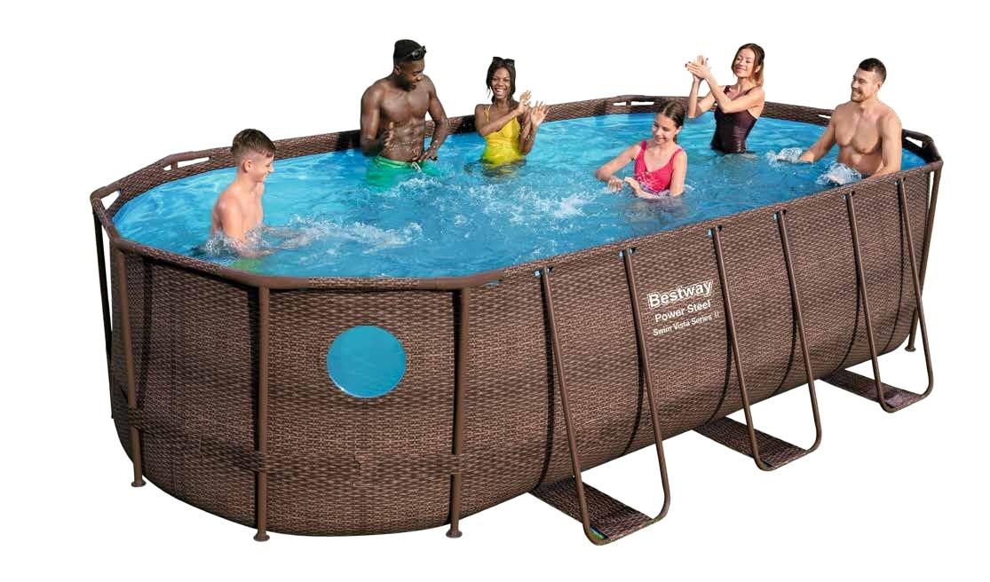 "56714 Bestway 4.27x2.5x1m Power Steel Oval Swim Vista Frame Pool 14'x8'2""x39.5"" Rattan Pool Wz See-Through Water-Tight Windows"