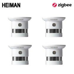 HEIMAN Zigbee brandalarm rookmelder 4pcs Smart Home systeem 2.4GHz Hoge gevoeligheid Veiligheid preventie Sensor Gratis Verzending