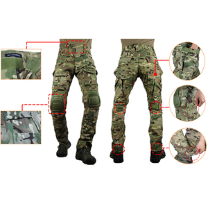 Image 3 - zuoxiangru Mens Multicam Tactical Pants Multi Pockets Military Camo Outdoor Airsoft Combat Hunting Pants with Knee Pads
