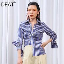 DEAT 2019 New Spring Summer Lapel Long Sleeve Bluep Plaid Printed Fold Pleated Temperament Shirt Women Blouse Fashion JU526