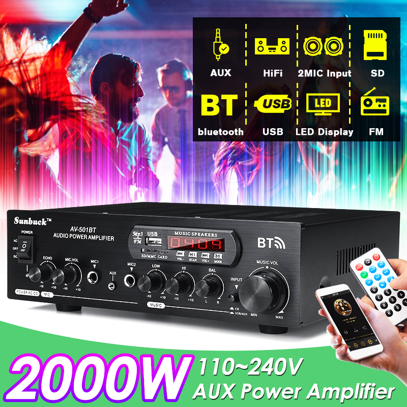 1200W 220V/110V Audio Power Amplifier Bluetooth 2.0 Hifi Speaker 4 Microphone Remote Control Support FM USB SD Card