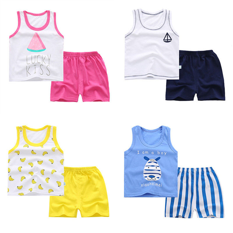 Baby Clothing Sets 9M-5T Summer Baby Print Cotton Clothes For Infant Boys&Girls Vest+Shorts Outfits Kids Clothing Sets A0102