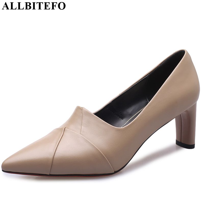 ALLBITEFO Natural Genuine Leather High Heel Shoes Pointed Toe Fashion Women Heels Spring Autumn Office Ladies Shoes Comfortable