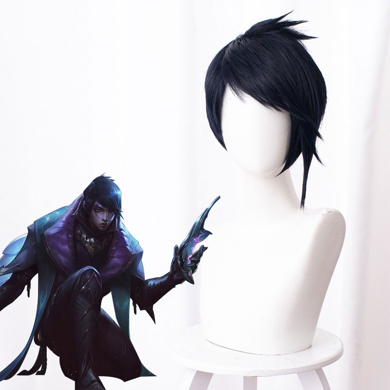 Cos School Aphelios Wig LOL <font><b>League</b></font> <font><b>of</b></font> <font><b>Legends</b></font> Aphelios <font><b>Cosplay</b></font> Wigs Blue Short Hair+Wig Cap Halloween Game Play Wigs image