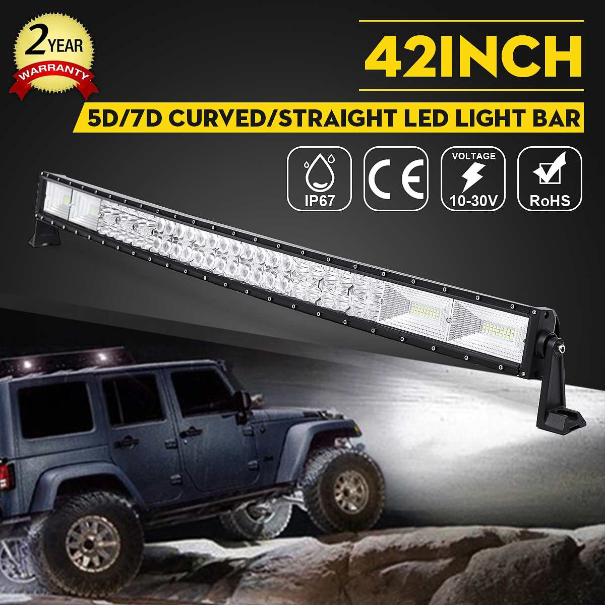 1400W 42 Inch 5D Curved LED Work Light Bar Combo Offroad Driving Lamp 6000K Waterproof LED Light Bar For SUV ATV Car Truck image
