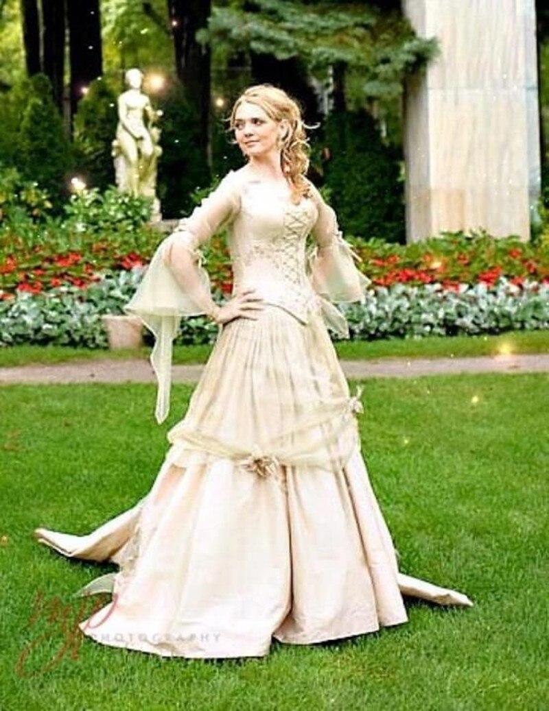Купить женское платье в стиле ретро золотистое готическое свадебное