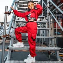 Crianças hip hop jazz trajes de dança meninas inverno manga longa vermelho tops calças colete rua dança tambor trajes palco