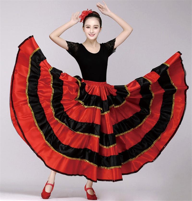 Spanish Flamenco Skirt Bullfight Dance Dress Costumes Stage Performance Party Red Skirt Women Female Clothing