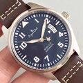 Marca de luxo novos homens automático mecânico piloto marca xvii marrom couro preto azul esporte aço inoxidável safira data relógio aaa