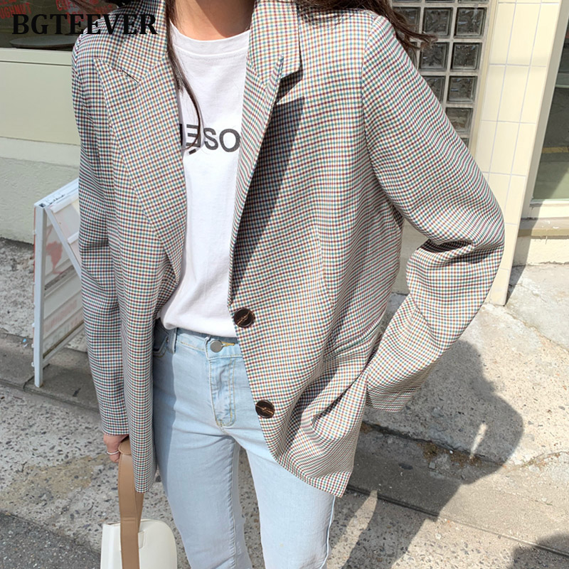 Women Vintage Plaid Blazer Female Long Sleeve Suit Jacket Workwear Blazer Outerwear Femme Single-breasted Formal Suits 2019