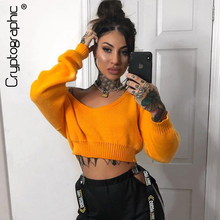 Cryptographic 2019 Autumn Winter Pullover Sweaters Long Sleeve Solid Sexy Crop Tops  Fashion Slash Neck Knitted Female