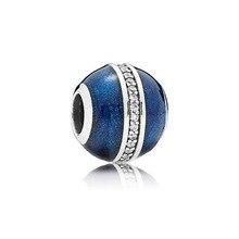 925 стерлингового серебра подвески из синего цвета круглые бусины кулон CZ, соответственные Пандоре обаятельные браслеты и браслеты ожерелья...