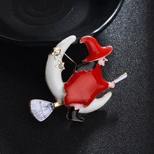 Hello Miss Exquisite drip witch brooch cute girl ornament Halloween gift