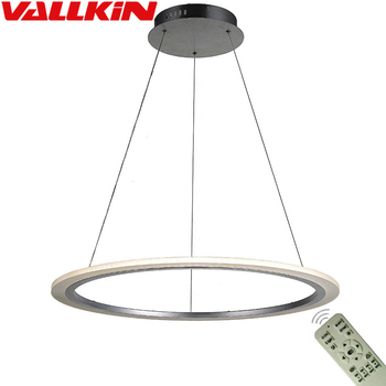 Newest product Modern dimming LED round circle pendant light acrylic Single Ring LED Lighting with remote control CE FCC ROHS