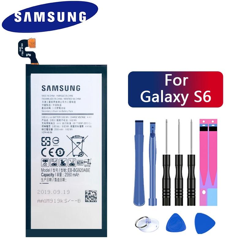 Original SAMSUNG Replacement Battery EB-BG920ABE For Samsung GALAXY S6 SM-G920 G920F G920i G920A G920V G9200 G9208 G9209 2550mAh