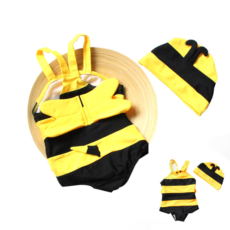 2019 New Style CHILDREN'S Swimsuit Set Cute Men And Women Children One-piece Small Bee Tour Bathing Suit Hot Springs Baby Swimsu