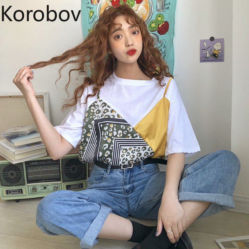 Korobov 2020 New Women O Neck T Shirts Vintage Streetwear Hit Color Patchwork T Shirt Harajuku Summer Chic Tee