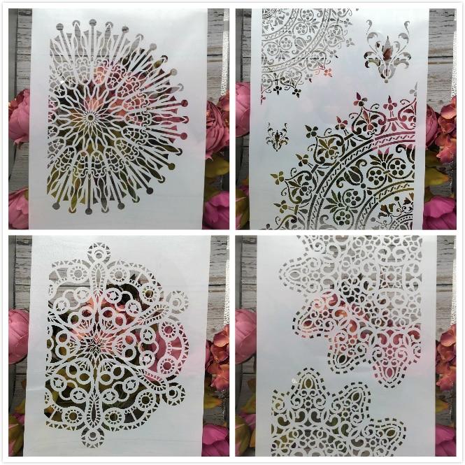 4Pcs/Lot A4 Circle Floral Flower DIY Layering Stencils Painting Scrapbook Coloring Embossing Album Decorative Card Template