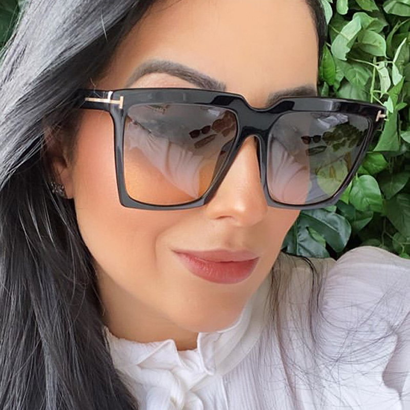2020 New Luxury Brand Gradient Sunglasses For Women Vintage Elegant Oversized Square Sun Glasses Men Black Goggle Shades