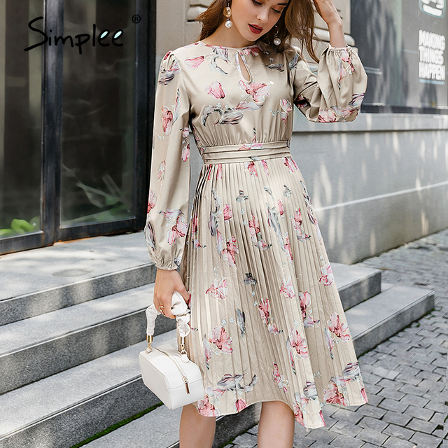 Simplee Elegant floral print long dress women round neck long sleeve ruffled holiday dress middle waist autumn winter dresses 6