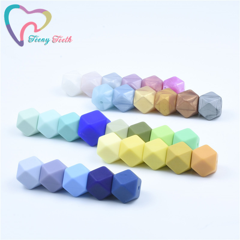 30 PCS 14 MM Teething Hexagon Silicone Jewelry Beads Chewable Food-Grade Baby Teether Geometric Shape DIY Pacifier Loose Beads