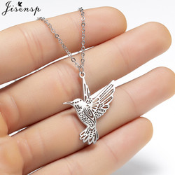 jisensp Animal Simple Necklace Stainless Steel Hummingbird Necklaces & Pendants Clavicle Chain Swallow Birds Necklace collares
