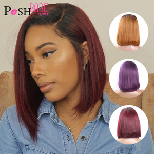 13x6 Short 1B 99J /1B Purple /1B 30 Ombre Bob Wig Lace Front Human Hair Wigs For Black Women Straight Pre Plucked Brazilian Wigs(China)