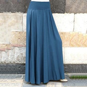 Spring summer Skirts womens 2020 High Waist Women Fashion Elastic Waist Solid Pleated Skirt Vintage A-line Loose Long Skirts new цена 2017