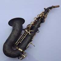 Black New Custom BbTune music instrument Golden key saxophone Curved soprano Sax With Mouthpiece