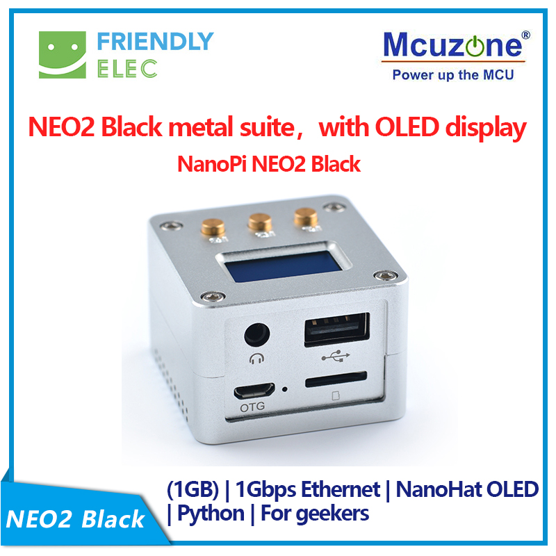NanoPi NEO2 Black CNC All Metal Aluminum Shell FriendlyELEC NEW Complete Starter Kit, With NanoHat OLED Display Micro Usb 16GB