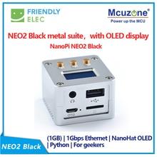 NanoPi NEO2 negro CNC todo metal aluminio shell FriendlyELEC nuevo Kit completo de inicio, con pantalla OLED NanoHat micro usb 16GB