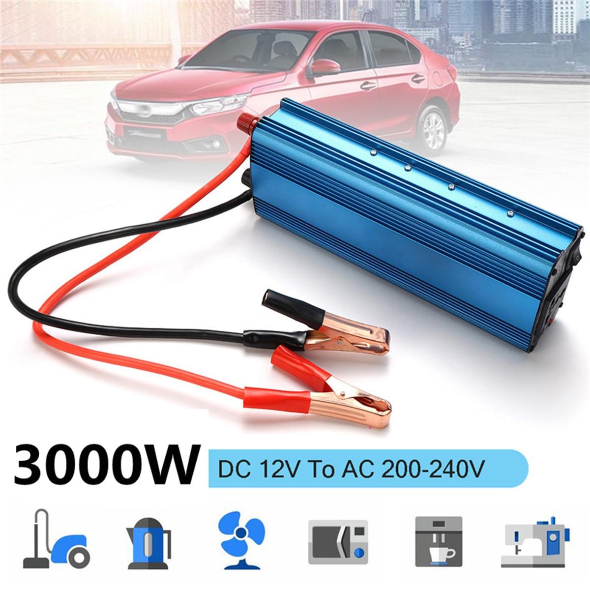 3000w inversor de energia solar do carro dc 12 24v para ac 220v onda senoidal usb