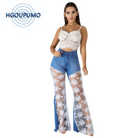 Sexy Flare Jeans Woman See Througn Lace Splice High Waist Push Up Skinny Jeans Mujer Vintage Plus Size Bell Bottom Denim Pants