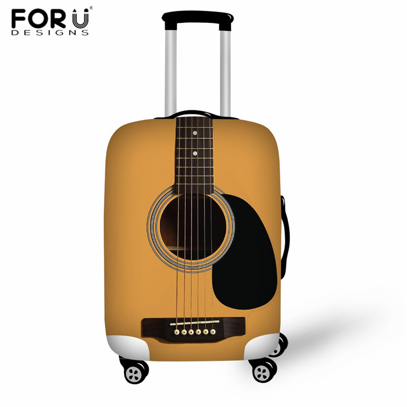 FORUDESIGNS Luggage Tags Travel Accessories 3D Print Guitar Suitcase Dustproof Cover Elastic Zipper Suitcase Case,Bagage Cover